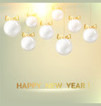 white christmas balls on golden background vector image