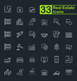 white real estate line icons vector image
