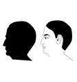 black men head silhoutte with eyes nose ear vector image