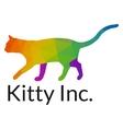 Elegant Multicolored Cat Logo Template vector image