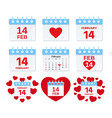14 february calendar icon valentine day vector image vector image
