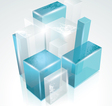 3D glass rectangles abstract background vector image
