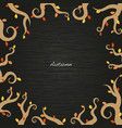 autumn ivy and leaves frame on wood vector image