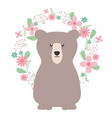bear grizzly with floral decoration bohemian style vector image vector image