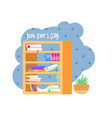bookshelveswith colorful books book reading club vector image