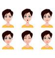 business woman freelancer banker set of emotions vector image vector image
