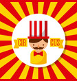 carnival host man circus show with stripes vector image