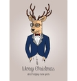 Cartoon hipster reindeer with suit hand drawn vector image vector image