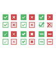 check box icons tick and cross signs vector image vector image