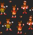 christmas character seamless pattern reindeer vector image vector image