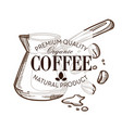 coffee beans and turk isolated sketch icon cafe or vector image vector image