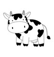 cow cartoon farm animal isolated icon on white vector image