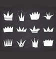 crowns doodles set hand drawn royal sketch vector image