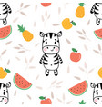 cute seamless pattern with little zebra and vector image vector image