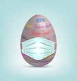 easter egg in surgical mask colourful 3d egg vector image vector image