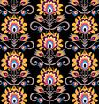 floral folk black background vector image