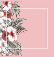 flowers frame tropical pink background vector image vector image