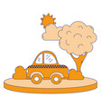 full color taxi car service in the city with tree vector image vector image