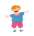 fun smiling little boy red head kid vector image