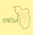 Goa india map grey