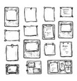 hand drawn engraved paper note icon set on white vector image