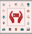 hands holding credit card elements for your vector image vector image