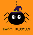 happy halloween black spider silhouette hanging vector image