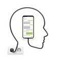head cable connected to the phone vector image vector image