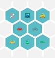 icons flat style airplane van bus and other vector image