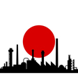 industry and flag of japan vector image vector image