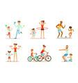 joint activity of parents and children sports and vector image vector image
