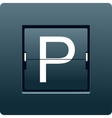 Letter P from mechanical scoreboard vector image vector image