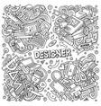 line art doodles cartoon set designer vector image vector image