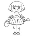 little girl in dress with bucket and shovel vector image