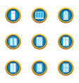 little window icons set flat style vector image vector image