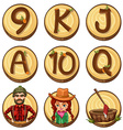 Lumber jacks and numbers on round badges vector image vector image