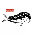 Mahi-mahi black and white vector image