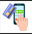 mobile payment concept with bank card vector image vector image