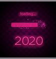 neon progress bar 2020 year vector image vector image