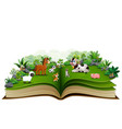open book with cartoon of animal farm in the park vector image