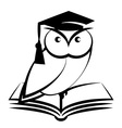 Owl with college hat and book vector image vector image