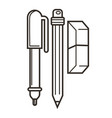 pencil pen and eraser isolated objects school vector image