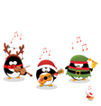 Penguins Playing Christmas Music vector image vector image