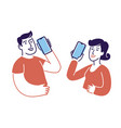 people talking on smartphones symbol vector image