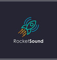 playful rocket and sound amplifier tunnel logo vector image vector image