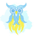 printable fashion of cartoon owl from hand drawn vector image vector image