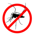 Prohibition sign for mosquitos on vector image