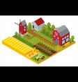 rural 3d farm isometric template with mill garden vector image