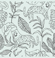 seamless jungle pattern with leopard and jungle vector image