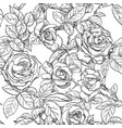 seamless pattern black and white roses vector image vector image